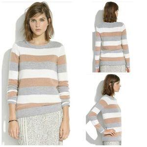 MADEWELL Merino Wool tri striped Gamine sweater